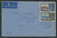GIBRALTAR  (P1101B) KGV SILVER JUBILEE 2D+3D 1935 TO ENGLAND
