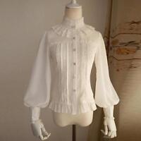 New Gothic lolita Women bow Long Sleeve T-Shirt Tops High Neck Blouse Hot