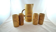 Sugar Cane Bamboo Carved Pitcher With 4 Cups JAMAICA