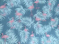 Pink Flamingos on a Blue Background 100% Cotton Twill Fabric Per Meter