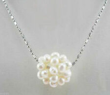 """Real Cluster White Freshwater Pearl Ball 18KGP Pendant Necklace 18""""AAA"""