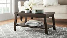 LOGAN COFFEE TABLE, Long Rectangular w/ Open Shelf, Brown Espresso Wood Finish