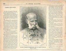 Portrait François Charles Joseph archiduc d'Autriche Habsbourg GRAVURE 1878
