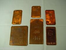 6 x JG Merkenthaler Monogramme, Kupfer Schablonen, Stencils, Patrons broder