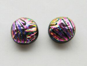 Genuine Hand Crafted Dichroic Glass Stud Earrings -  Textured Pink Pattern