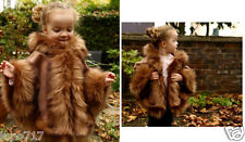 CAMEL KIDS GIRLS FLUFFY FAUX FUR HOODED WINTER CAPE COAT PONCHO SZ M 5-7 YRS NEW