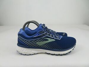Brooks Ghost 12 Comfort Running Athletic Shoes Blue Green Low Top Women 9 Narrow