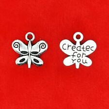 20 x 3D Tibetan Silver Create For You Butterfly Charms Pendants
