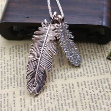 Fashion Women Crystal Double leaves Pendant Long Chain Sweater Necklace Gift