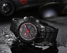 Militär Japan Herrenuhr Dual-display Armbanduhr Edelstahl Quarz Analog Stoppuhr