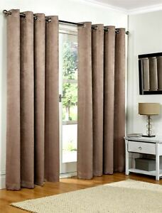 Luxury Mink Embossed Thermal Blackout Eyelet Ring Top Lined Pair Curtains