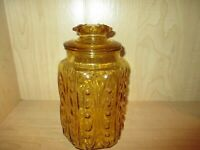Imperial L. E. Smith Atterbury Scroll Gold Glass Apothecary Canister Jar w/ Lid