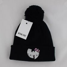 Actual Fact Wu Tang x HELLO KITTY Japon Hip-Hop Gable Pom Pom Black Beanie a