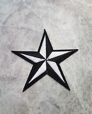 STAR BLACK WHITE PATCH IRON ON BADGE APPLIQUE