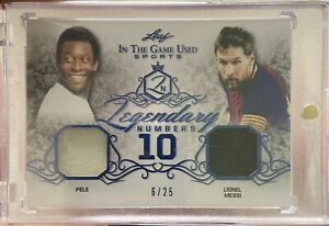 2019 Leaf In the Game Used Legendary Numbers Pele Lionel Messi 6/24