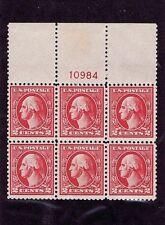 Sc# 527 Pl# 10984 Block Of 6 Original Gum Nh 2 Cent Washington, Type V 1920
