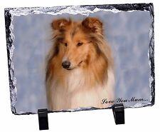 Rough Collie Dog 'Love You Mum' Photo Slate Christmas Gift Ornament, AD-RC1lymSL