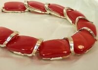 Vintage 1960's Lisner Signed Bright Red Moonglow Mellow Gold Tone Necklace 187M9