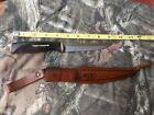 Vtg 1967 Normark Fiskars Hunting Knife w/ Leather Sheath Made In Finland