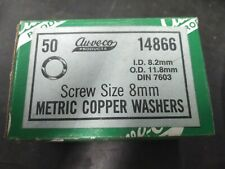 (Box of 50) Au-ve-co Metric Copper Washers for 8mm Screws ID 8.2mm OD 11.8mm