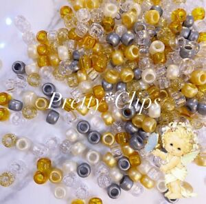 3 For 2 X100 ANGEL Gold And sIlver MIX 9 X 6mm PONY BEADS