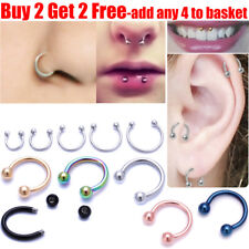 Surgical Steel Horseshoe Nose Ring Lip Ring Teeth Ring Daith Tragus Hoop Ring
