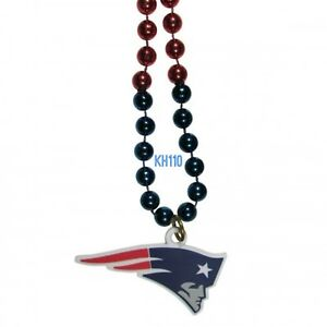 NFL New England Patriots Mardi Gras Beads With Medallion Necklace