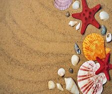 RED STARFISH SEASHELL SAND BEACH MOUSE PAD  9 X 7