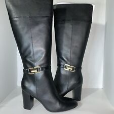 IMAN Black Knee High Leather Boots Size 8 M