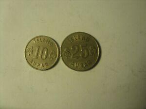 10 and 25 AURAR 1960  ICELAND KEY DATE