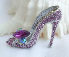 Purple Rhinestone Crystal High-heeled Shoes Brooch Pin Costume Jewelry EE05865C4