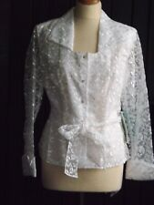 MSK, Ladies, fully lined, white embroidered evening jacket, size M, NWT