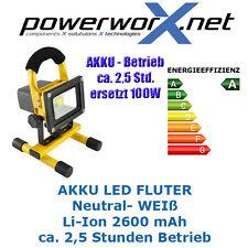 LED AKKU STRAHLER 10W FLUTER Baustellenstrahler Flutlicht Handlampe IP65 Li-Ion