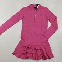 New with tag NWT Girls RALPH LAUREN POLO Hot Pink Long Sleeve Dress L 12-14