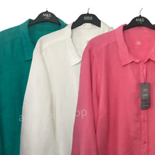 M&S Ladies Blouse Pink OR White OR Green Pure Linen Shirt BNWT Marks Curve