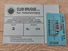 Ticket Club Brugge KV - Atlético Madrid Spain Cup Winners Cup 1992