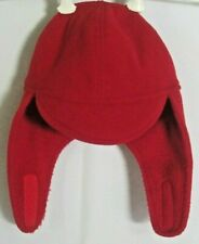 The Cap Toddlers One Size Fits Most Cozy Red Hat W/Ear Protection Velcro Closure