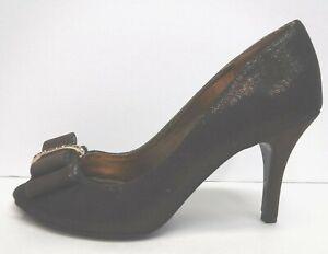 Nina Size 7.5 Brown Metallic Open Toe Heels New Womens Shoes