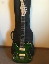 Raven West Electric Guitar Left Handed Green w/ soft-sided case