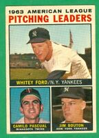 1964 TOPPS #4 AL WINS LEADERS  WHITEY FORD  JIM BOUTON  YANKEES  VG/EX