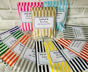 Personalised Sweet Bags Striped Candy Bags Wedding Favour Birthday Party Colour