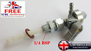 "1/4 Bsp x 14"" hose Fuel Tap On / Off / Reserve BSA Bantam Motorcycle Fuel tap"