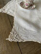 Vintage Handmade White Linen And Lace Doily Pair