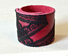 Leder Armband Schnapparmband Klackarmband dunkelrot mit schwarzer Spitze Gothic