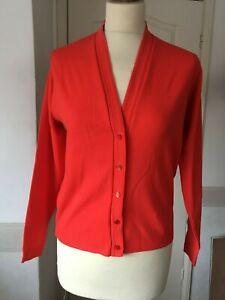 vintage fine knit cardigan S red mod 60s retro revival