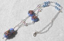 "*STARGAZER* Lampwork Lilies Swarovski Crystals Pearls Blue Pink 24"" Necklace"