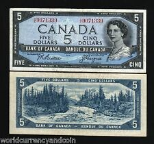 CANADA 5 DOLLARS P77a 1955 QUEEN FOREST RIVER BEATIE / COYNE CURRENCY MONEY NOTE