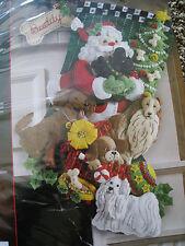 Bucilla Christmas STOCKING FELT Applique Holiday Craft Kit,SANTA PAWS,Dogs,86054
