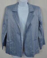 Linda Allard Ellen Tracy Blue Striped Blazer Women's Petite 6 100% Silk CASUAL