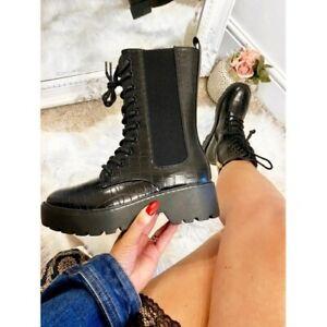 Ladies Lace Up Ankle Boots Chunky Platform Womens Biker Combat Zip Up Shoes Size